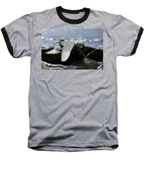 Egret In Flight Baseball T-Shirt