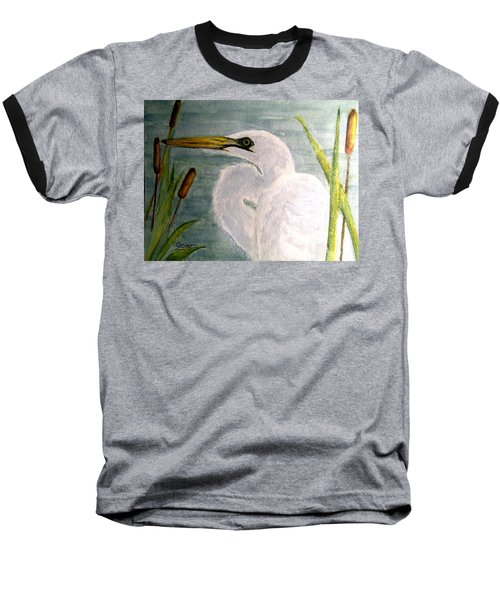 Egret In The Cattails Baseball T-Shirt by Carol Grimes