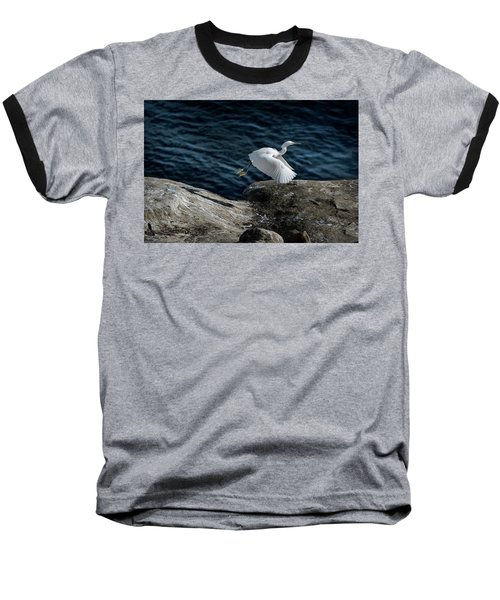 Egret Baseball T-Shirt by James David Phenicie