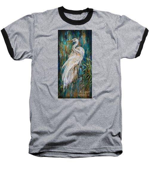 Egret Near Waterfall Baseball T-Shirt