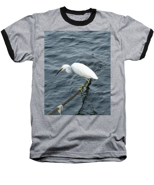 Egret On The Munch Baseball T-Shirt by Margie Avellino