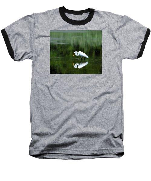 Egret Reflection Baseball T-Shirt by Kathy Eickenberg