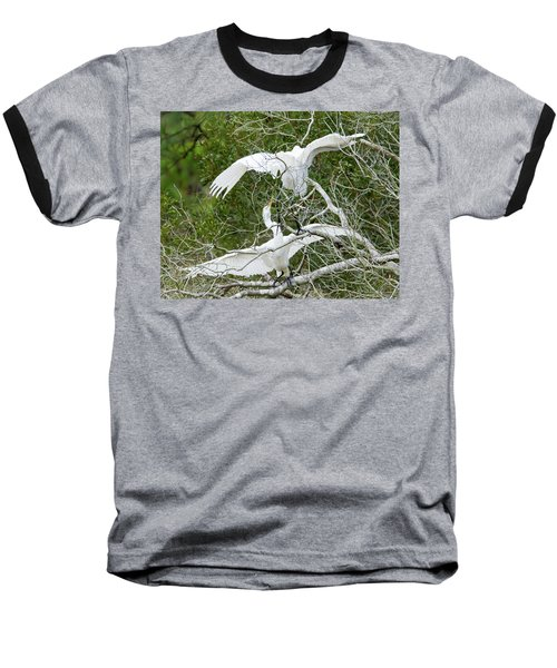 Baseball T-Shirt featuring the photograph Egret Rumble by George Randy Bass