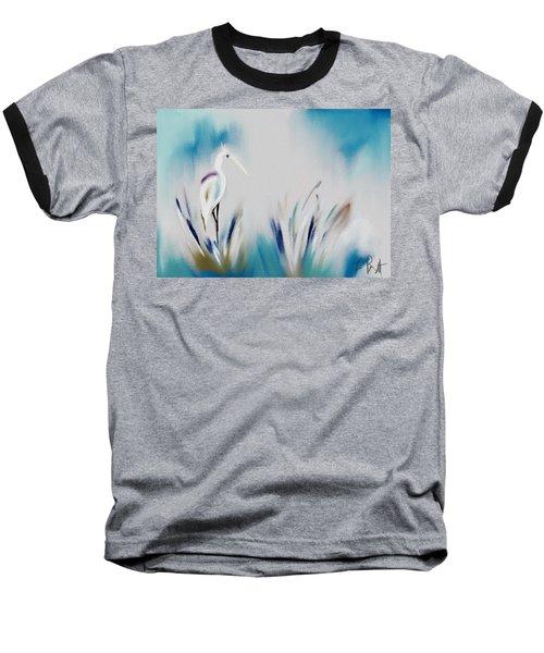 Egret Splash Baseball T-Shirt by Frank Bright
