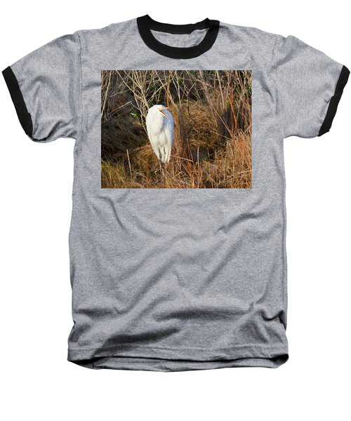 Egret With Something To Say Baseball T-Shirt