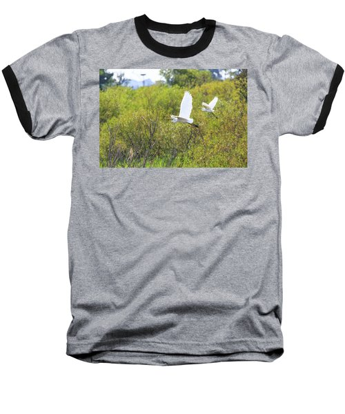 Egrets In Flight Baseball T-Shirt