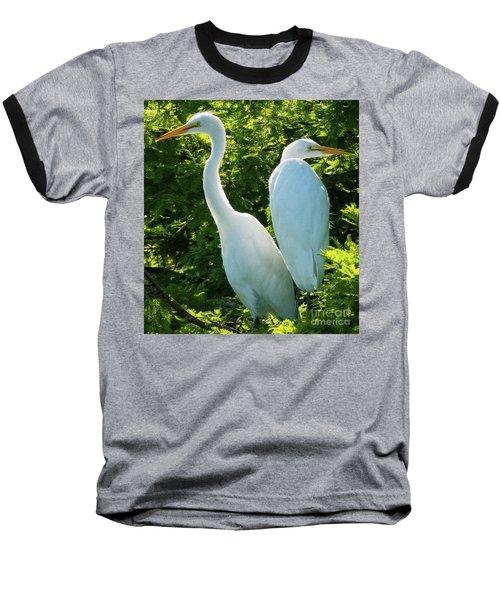 Egrets Sitting Around Baseball T-Shirt