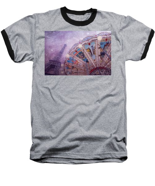 Baseball T-Shirt featuring the photograph Eiffel Tower And Carousel by Clare Bambers