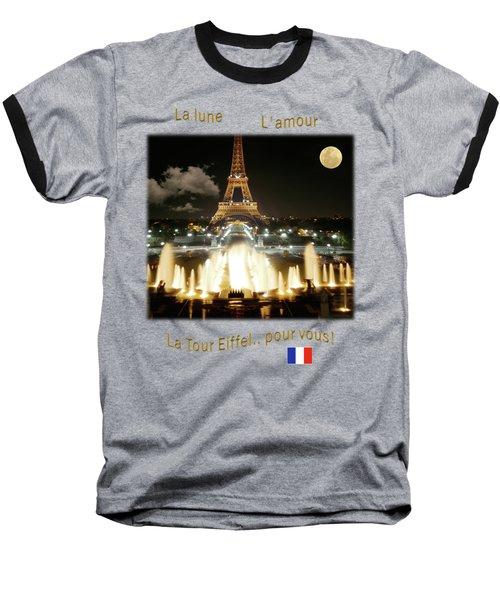 Eiffel Tower At Night Baseball T-Shirt by Jon Delorme