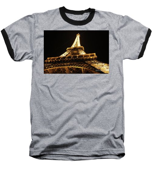Baseball T-Shirt featuring the photograph Eiffel Tower At Night by MGL Meiklejohn Graphics Licensing