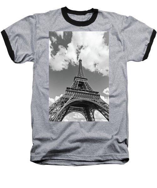 Eiffel Tower - Black And White Baseball T-Shirt