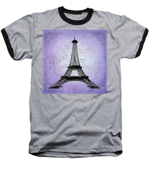 Eiffel Tower Collage Purple Baseball T-Shirt