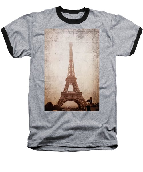 Baseball T-Shirt featuring the digital art Eiffel Tower In The Mist by Christina Lihani