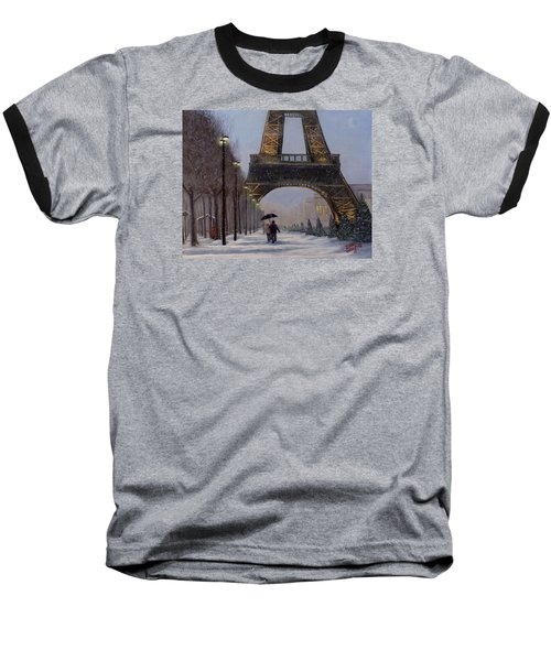 Eiffel Tower In The Snow Baseball T-Shirt by Dan Wagner