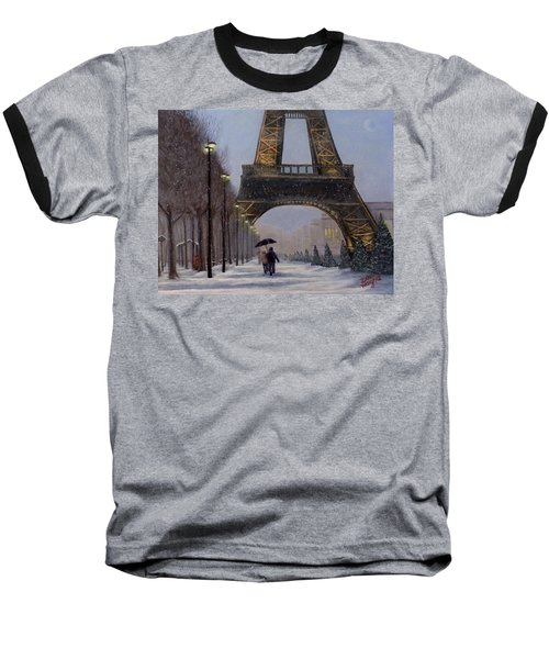 Eiffel Tower In The Snow Baseball T-Shirt