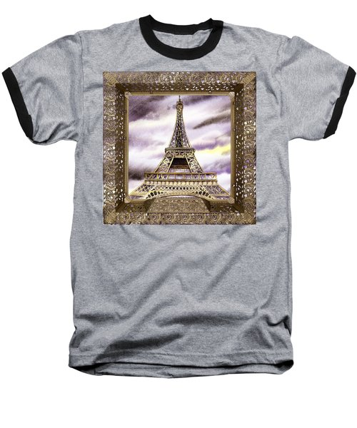 Baseball T-Shirt featuring the painting Eiffel Tower Laces Iv  by Irina Sztukowski