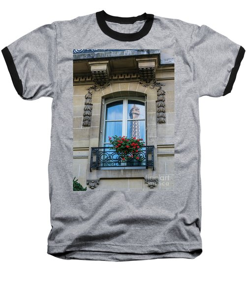 Eiffel Tower Paris Apartment Reflection Baseball T-Shirt by Mike Reid