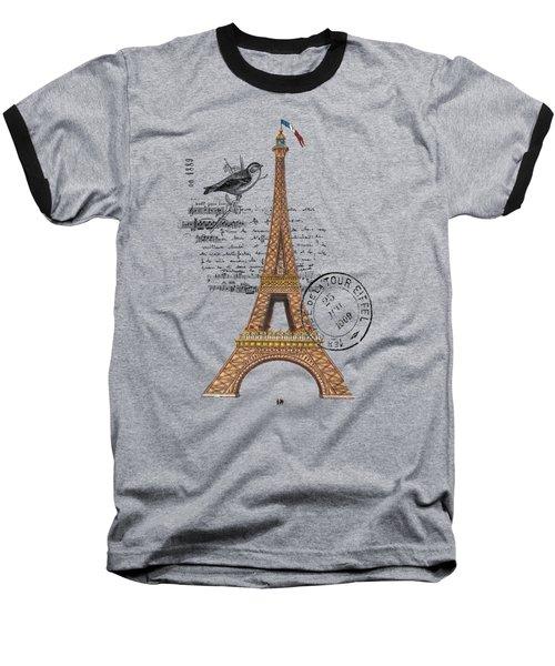 Eiffel Tower T Shirt Design Baseball T-Shirt by Bellesouth Studio