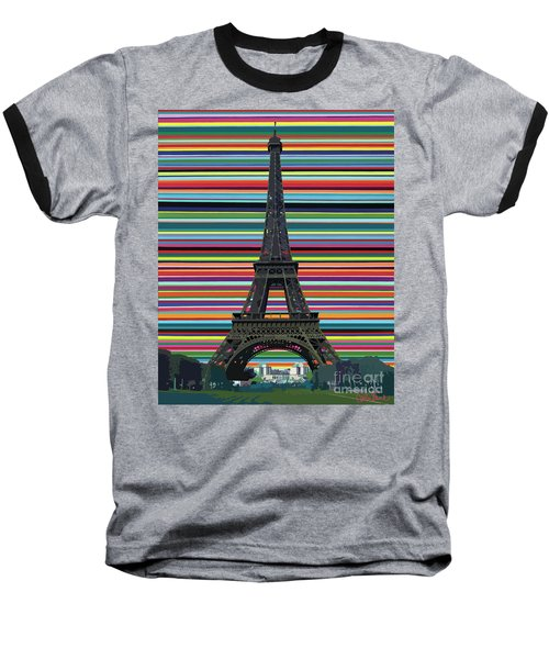 Baseball T-Shirt featuring the painting Eiffel Tower With Lines by Carla Bank