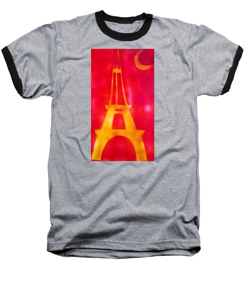 Baseball T-Shirt featuring the painting Eiffel Tower Yellow Glowing by Don Koester