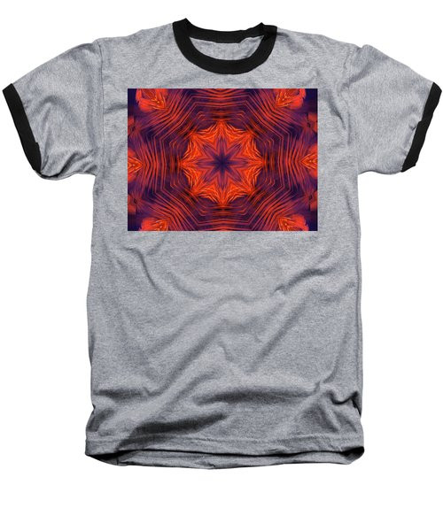 Eight Petal Orange Kaleidoscope Baseball T-Shirt