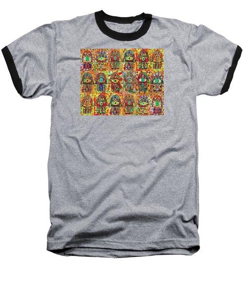 -eighteen Vintage Chai Hamsas Baseball T-Shirt by Sandra Silberzweig