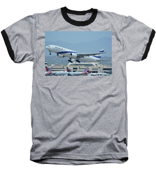 Baseball T-Shirt featuring the photograph El Al Boeing 777-258er 4x-ece Los Angeles International Airport May 3 2016 by Brian Lockett