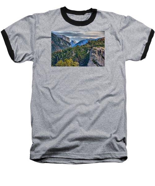 El Capitan And Half Dome Baseball T-Shirt by Josephine Buschman