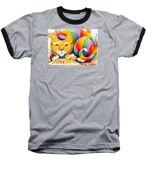 el Gato Artisto Baseball T-Shirt by Dee Davis