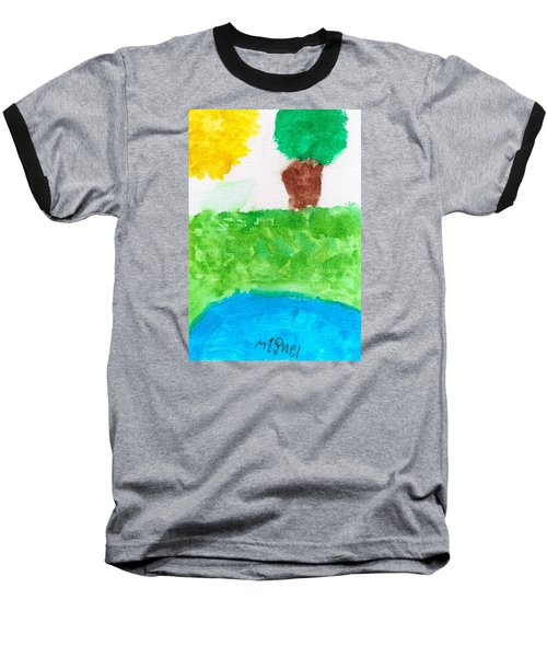 Baseball T-Shirt featuring the painting El Paisaje by Artists With Autism Inc