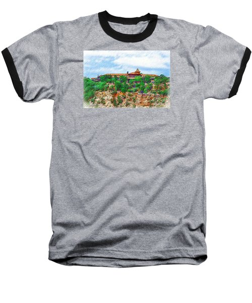 Baseball T-Shirt featuring the digital art El Tovar At The Grand Canyon by Kirt Tisdale