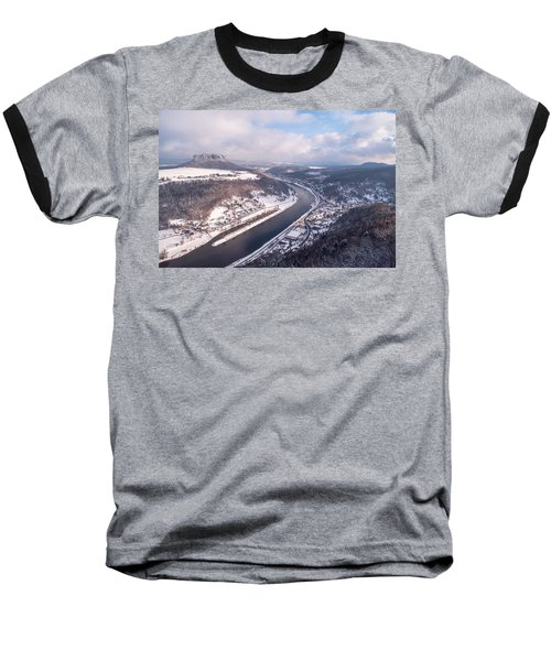 Baseball T-Shirt featuring the photograph Elbe Valley With Mountain Pfaffenstein by Jenny Rainbow