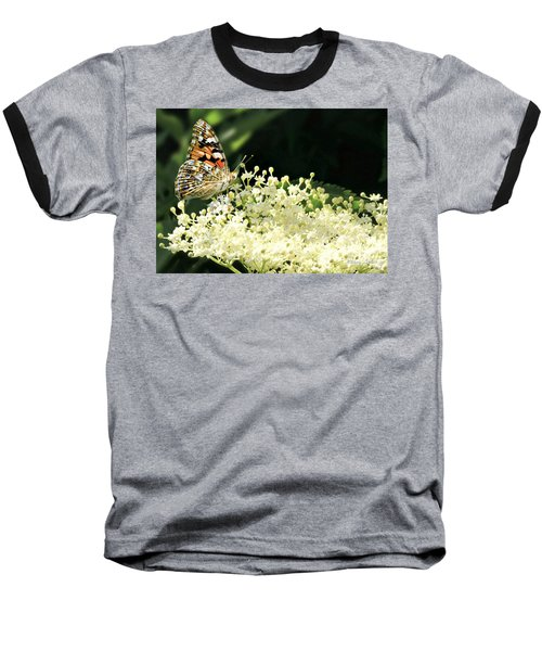 Elderflower And Butterfly Baseball T-Shirt