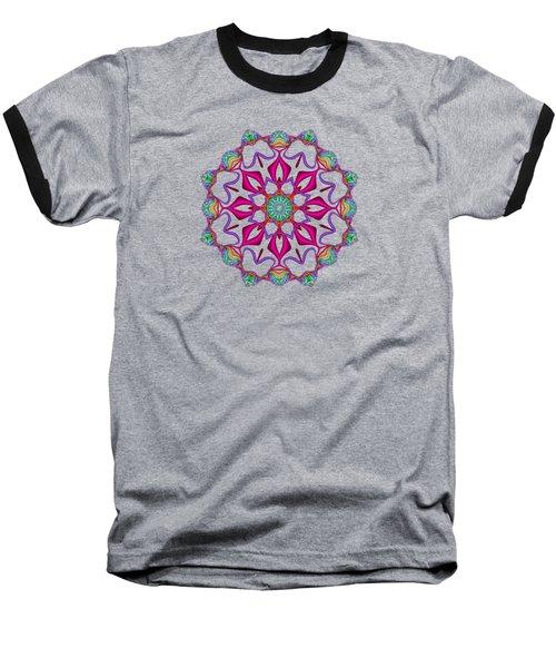 Electric Fractal Flower Baseball T-Shirt