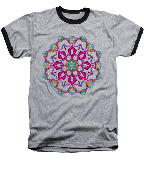 Electric Fractal Flower Baseball T-Shirt