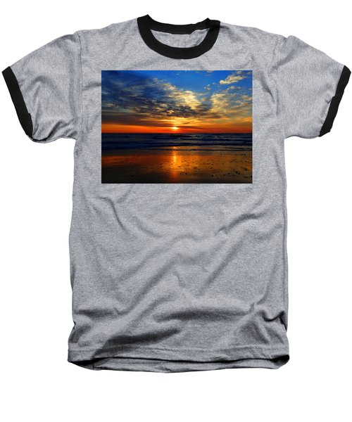 Electric Golden Ocean Sunrise Baseball T-Shirt