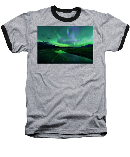 Electric Skies Over Jasper National Park Baseball T-Shirt by Dan Jurak