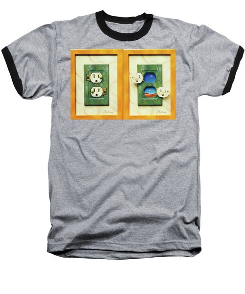 Electric View Miniature Shown Closed And Open Baseball T-Shirt