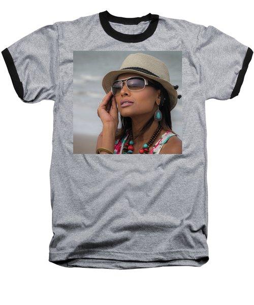 Baseball T-Shirt featuring the photograph Elegant Beach Fashion by James Woody
