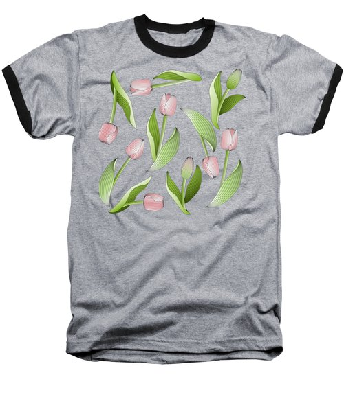Elegant Chic Pink Tulip Floral Patten Baseball T-Shirt by Wind-Up Sprout Design