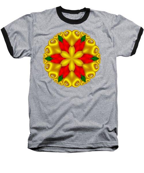 Elegant Christmas Poinsettia With Hearts  Baseball T-Shirt