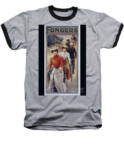 Elegant Fongers Vintage Stylish Cycle Poster Baseball T-Shirt by R Muirhead Art