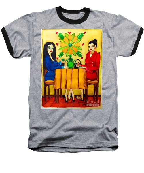 Baseball T-Shirt featuring the painting Elegant Ladies In A Coffee-shop by Don Pedro De Gracia