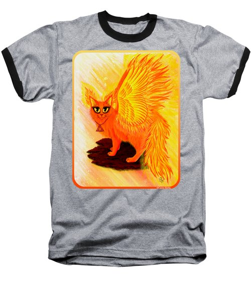Elemental Fire Fairy Cat Baseball T-Shirt by Carrie Hawks