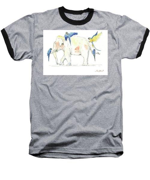 Elephant And Parrots Baseball T-Shirt