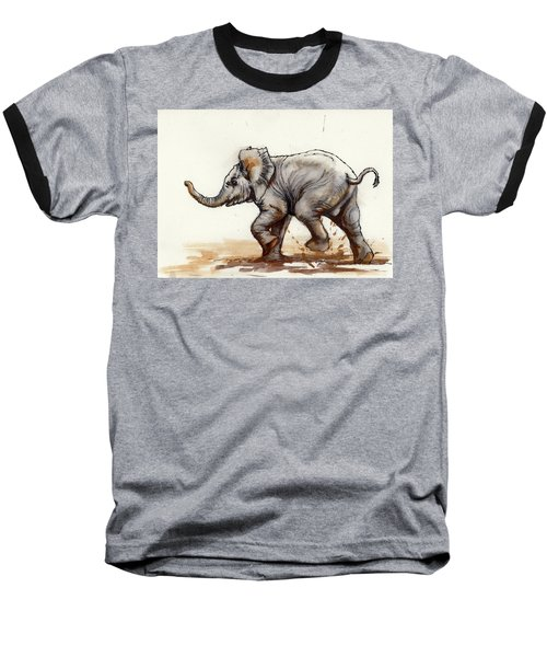 Baseball T-Shirt featuring the painting Elephant Baby At Play by Margaret Stockdale