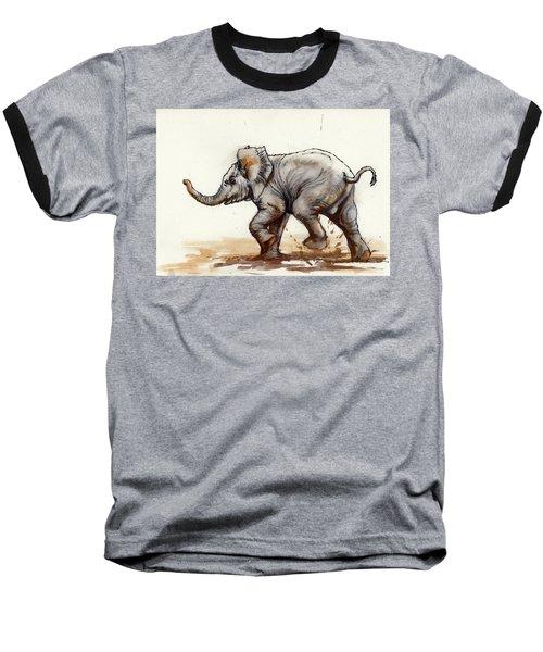 Elephant Baby At Play Baseball T-Shirt