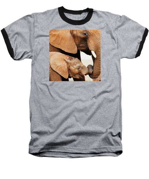 Elephant Calf And Mother Close Together Baseball T-Shirt