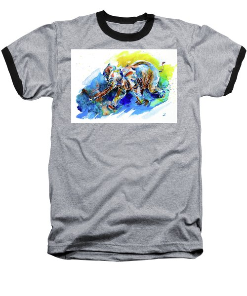 Baseball T-Shirt featuring the painting Elephant Calf Playing With Butterfly by Zaira Dzhaubaeva