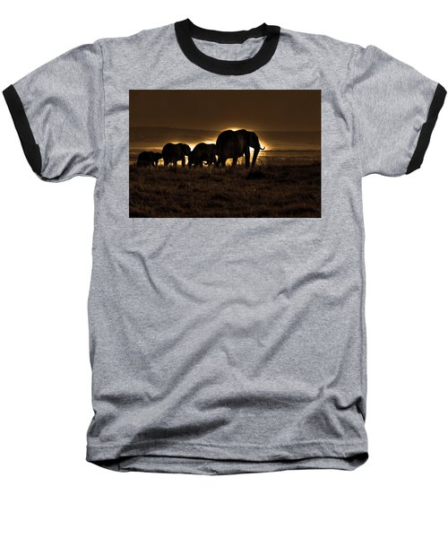 Elephant Herd On The Masai Mara Baseball T-Shirt
